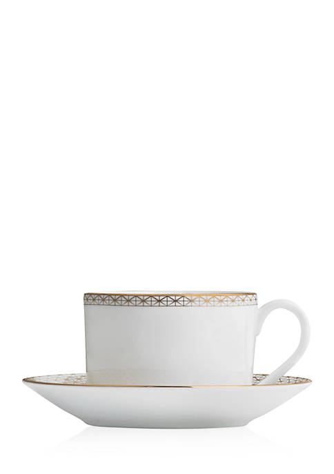 Waterford Lismore Diamond Gold Teacup and Saucer