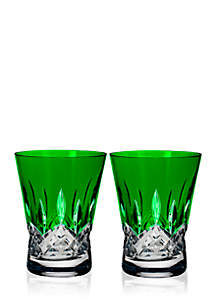 Lismore Pops Emerald Set of 2 Double Old Fashion Glasses