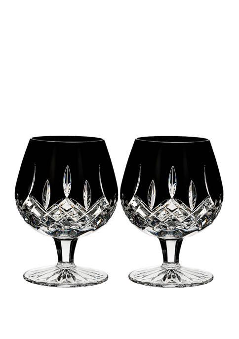 Set of 2 Lismore Black Brandy Balloon Glasses