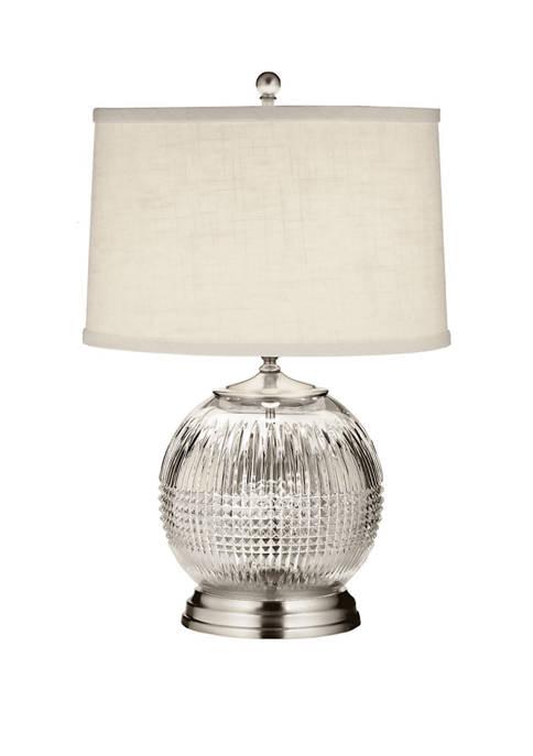 21.5 Inch Satin Nickel Lismore Diamond Table Lamp