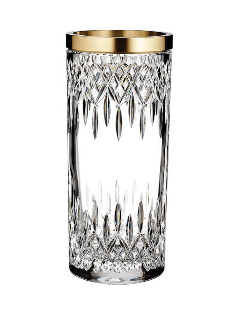 Waterford 12 Inch Lismore Reflection Vase with Gold