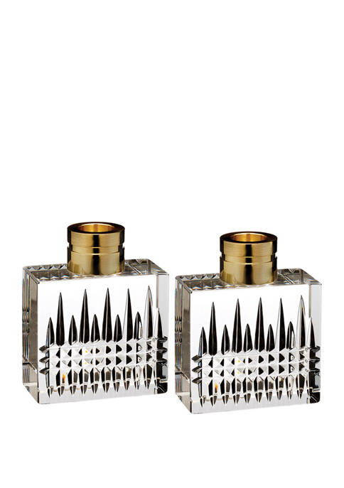 Set of 2 Lismore Diamond Candlesticks