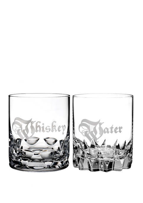 Set of 2 Whiskey and Water Double Old Fashioned Glass Set