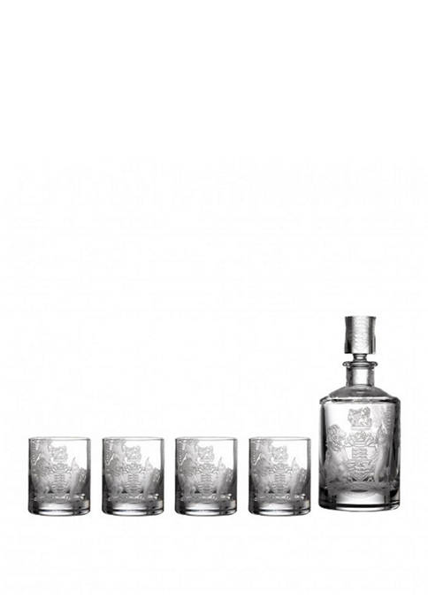 Waterford 5 Piece Crest Decanter and Tumbler Set