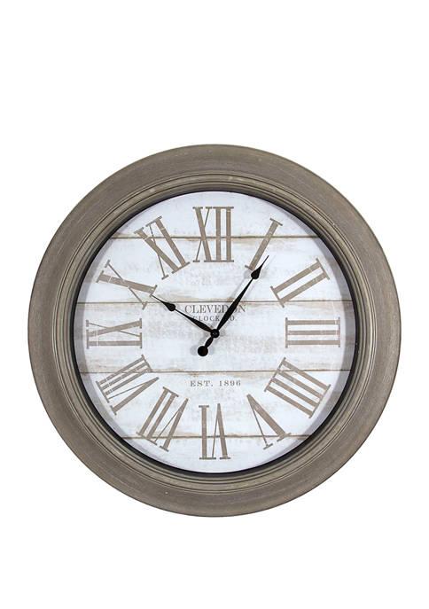 30 Inch Gray Wash Wood Grain Face Clock