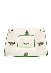 Christmas Tree Square Chip & Dip Bowl
