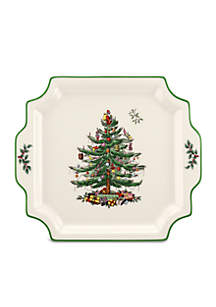 Christmas Tree Square Handled Platter
