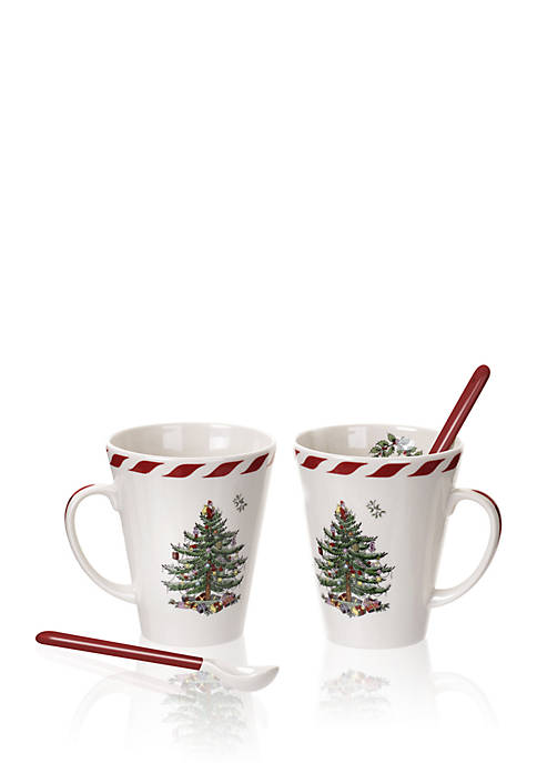 Spode Christmas Tree Peppermint Mug with Spoon - Set of 2 | belkClose Modal