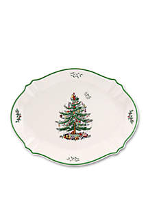 Christmas Sculpted Tree Oval Platter 17-in.