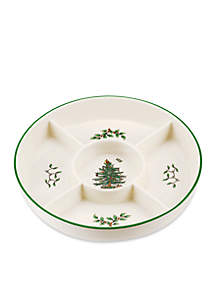 Spode Christmas Tree Hors d'oeuvrs Platter with 5 Sections