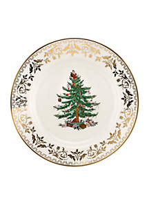 Christmas Tree Gold Dinner Plate 10-in.