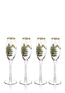 Christmas Tree Champagne Fluted Glasses, Set of 4