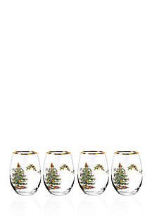 Christmas Tree Stemless Wine Glasses, Set of 4