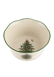 Christmas Tree Flared Scalloped Bowl