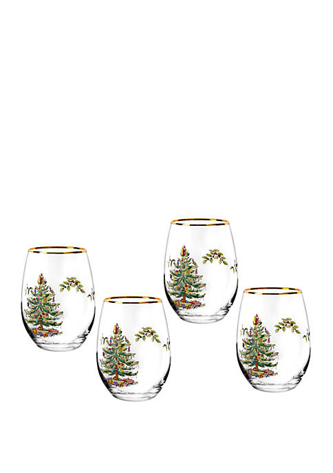 Stemless Wine Glasses Set of 4 - 19 Ounces