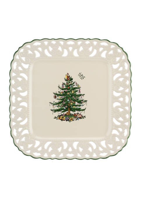 Spode Christmas Tree Pierced Square Platter