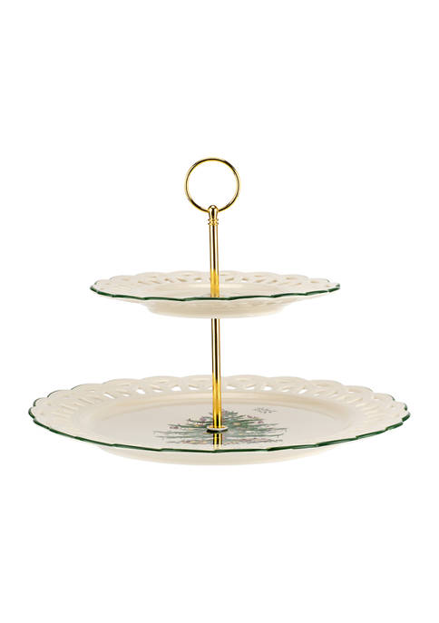 Spode Christmas Tree Pierced  Tiered Cake Stand | belkClose Modal