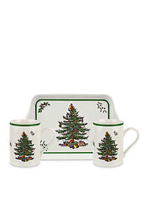 Christmas Tree 3-Piece Melamine Mug And Tray Set