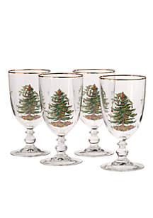 Christmas Tree Set of 4 Pedestal Goblets - 16-oz.