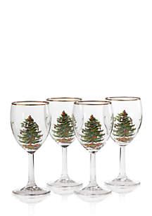 Christmas Tree Set of 4 Wine Glasses 13-oz.
