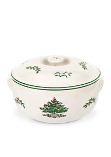 Christmas Tree Round Covered Casserole 2.5-qt.