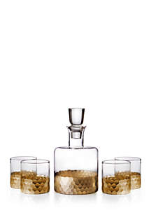 Daphne Gold Decanter and 4 Glass Set