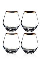 Michel Gold Rim Stemless Wine Glasses, Set of 4