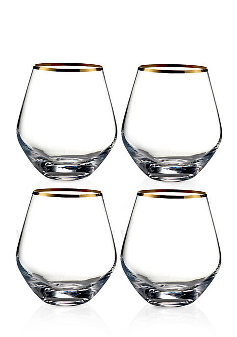 Fitz and Floyd Michel Gold Rim Stemless Wine