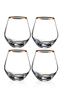 Michel Gold Rim Stemless Wine Glasses, Set of 4