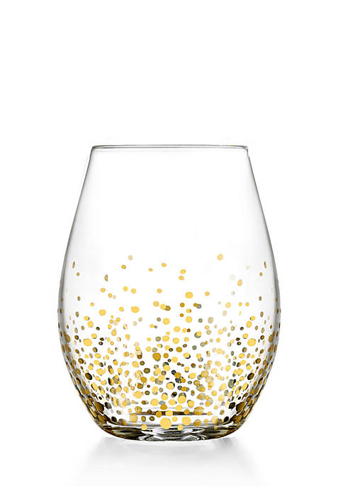Fitz and Floyd Gold Luster Stemless Wine Glass,