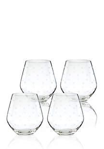 Larabee Dot Set of 4 Stemless Red Wine Glasses