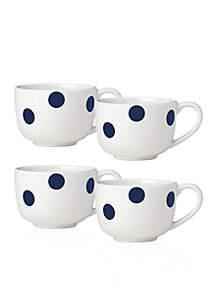 All in Good Taste Deco Dot Cobalt 4-Piece Latte Mugs