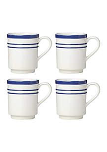 All in Good Taste Stripe Cobalt 4-Piece Latte Mugs
