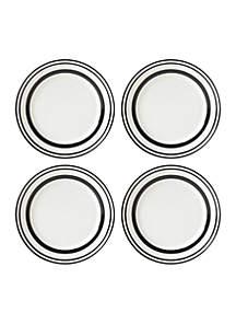 All in Good Taste Stripe Black 4-Piece Accent Plate Set