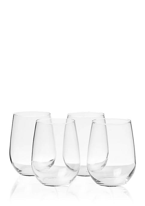 Libbey Vina Set of 4 Stemless White Wine
