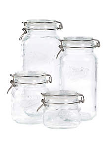 Tabletops Unlimited Set of 4 Glass Preserving Jar Set with Lid