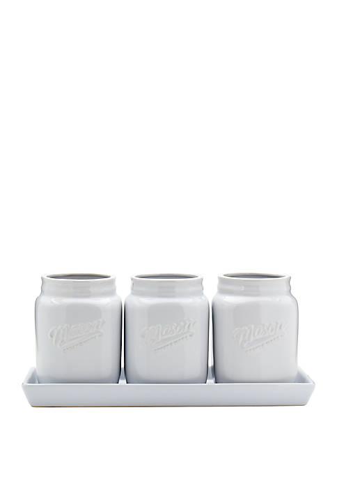 White Flatware Caddy Set