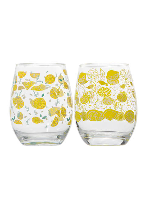 Home Essentials Set of 2 Stemless Wine Glasses
