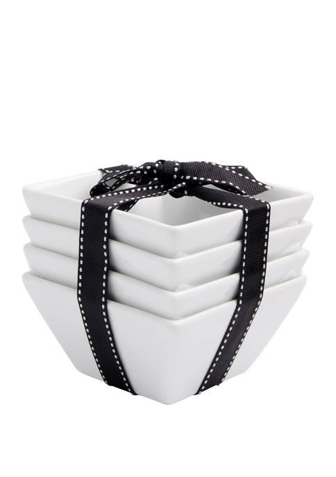 Bazaar Set of 4 White Square Snack Bowls