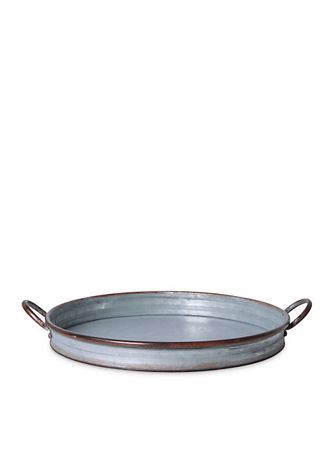 Fiddle & Fern Oval Galvanized Tray with Handles