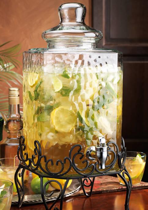 Home Essentials: Hammered Glass Beverage Dispenser with Scroll Iron Stand! .00 (REG .00) at Belk!