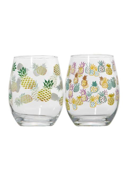 Set of 2 Stemless Wine Glasses - Allover Pineapple Print