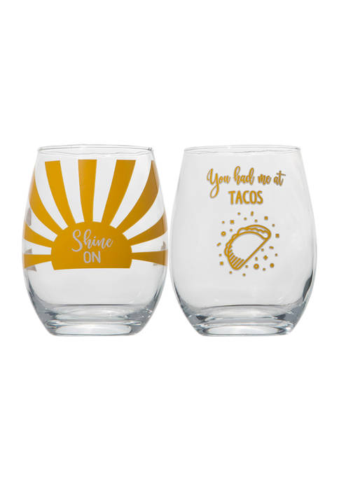 Set of 2 Stemless Wine Glasses - Tacos and Shine On