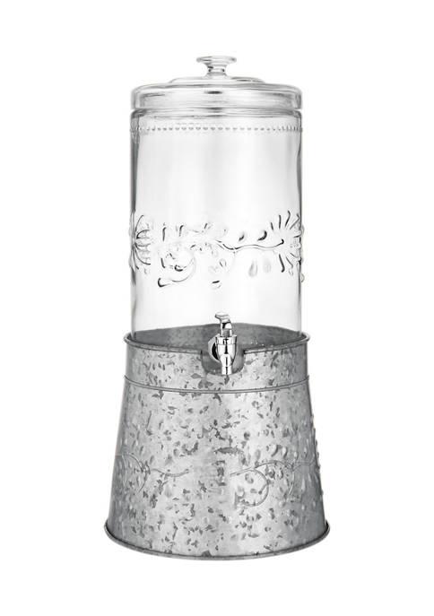 Fiddle & Fern Embossed Galvanized Beverage Dispenser