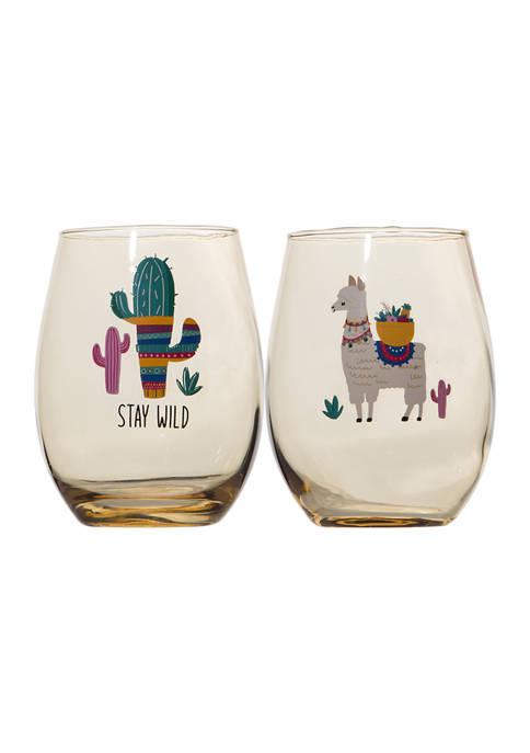 Set of 2 Stemless Wine Glasses - Llama and Stay Wild