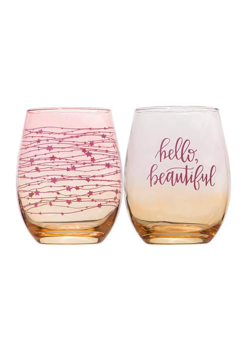 Set of 2 Stemless Wine Glasses - Hello Beautiful and Stars