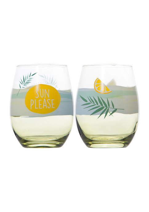 Set of 2 Stemless Wine Glass Set - Sun Please and Lemon Slice