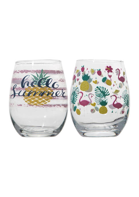 Set of 2 Stemless Wine Glasses- Flamingo Print and Hello Summer