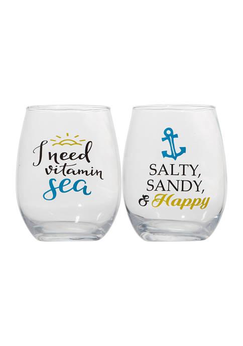 Set of 2 Stemless Wine Glasses - Salty Sandy & Happy and I Need Vitamin Sea
