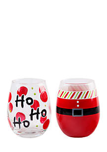 Santa Belt & Ho, Ho, Ho Wine Glass, Set of 2